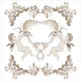 Valentine Cupid med den blom- prydnaden vektor illustrationer