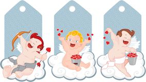 Valentine cupid tags Royalty Free Stock Photography