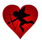 Valentine Cupido black silhouette. Illustration of Cupido black silhouette with red heart Royalty Free Stock Image