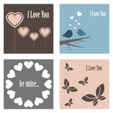 Valentine cute cards Royalty Free Stock Images