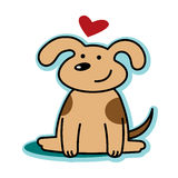 Valentine cute dog puppy love with red heart Stock Photography