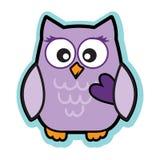 Valentine cute purple love owl holding heart Royalty Free Stock Photo