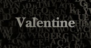 Valentine - 3D rendered metallic typeset headline illustration. Can be used for an online banner ad or a print postcard Stock Image