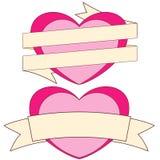 Valentine-dag als thema had kleurrijke affiche, harten en linten met plaats voor tekst Stock Foto