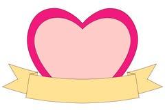 Valentine-dag als thema had kleurrijke affiche met hart en lint op witte achtergrond Royalty-vrije Stock Fotografie