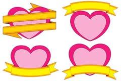 Valentine-dag als thema had kleurrijke stickers, harten en linten met plaats voor tekst Stock Foto