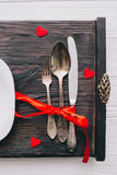 Valentine-dag, avondmaal Plaat, vork en mes Royalty-vrije Stock Afbeelding
