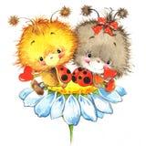Valentine-dag en leuk lieveheersbeestje, rood hart royalty-vrije illustratie