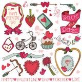Valentine-dag, huwelijkskader, geplaatste decorelementen Royalty-vrije Stock Foto