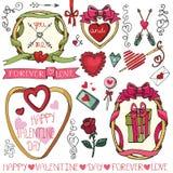 Valentine-dag, huwelijkskaders, decorelementen Stock Afbeelding