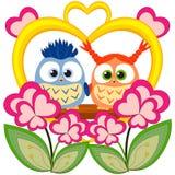 Valentine-dag kleurrijke affiche met een uilpaar Royalty-vrije Stock Afbeeldingen