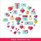 Valentine-dagpictogram in vlakte wordt geplaatst die Stock Foto's