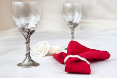 Valentine day. Two beautiful glasses with red napkin Stock Photography
