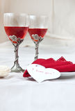 Valentine day. Valentine's heart with two glasses Royalty Free Stock Photo