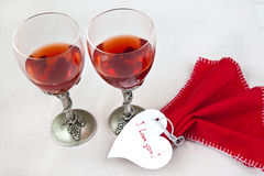 Valentine day. Valentine's heart with tow glasses Stock Photo