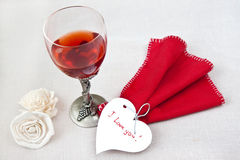 Valentine day. Valentine's heart with tow glasses Royalty Free Stock Photography