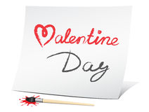 Valentine day. The text message on the white paper vector illustration