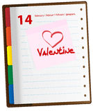 Valentine Day. Vector - Valentine and Heart Symbol on Note Sticker in Diary - February 14th vector illustration