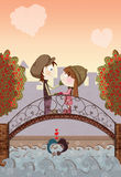 Valentine day. Romantic Valentine day illustration with cute young lovers Stock Photo