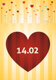 Valentine Day. Hearts Growing Like Flowers With Date 14/02 Illustration Stock Photos