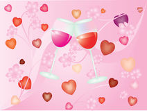 Valentine Day. The image of glasses with wine on a pink background Royalty Free Stock Photo