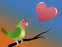 Valentine Day. A parrot standing and thinking of love Stock Photo
