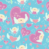 Valentine day Angel pattern. Endless pattern for Valentine's Day with hearts and cupids Royalty Free Stock Photography