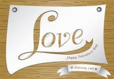 Valentine Day auf hölzernem Hintergrund Vector Liebe im Weißbuch auf braunem Holzfußbodenbeschaffenheitshintergrund Stockbild
