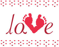 Valentine day baby footprints vector. Background Royalty Free Stock Photo
