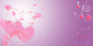 Valentine day background. With harts and floral for design Stock Image