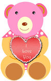 Valentine day background. Cute teddy with red heart Stock Photo
