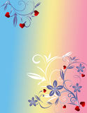 Valentine day background. Abstract floral design with red hearts Stock Photo
