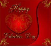 Valentine day background in floral ornament style wiyh red and gold colors royalty free stock photography