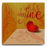 Valentine day background with floral ornament vector illustration