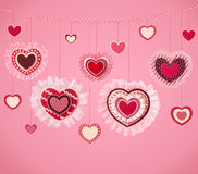 Valentine Day background. Happy Valentine`s Day background with hanging hearts Stock Photos