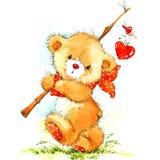 Valentine Day Background avec l'ours mignon de jouet et le coeur rouge Illustration d'aquarelle illustration de vecteur