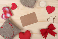 Valentine Day background with blank cardboard Stock Photography