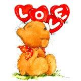 Valentine Day Background con el oso lindo del juguete y el corazón rojo Ilustración de la acuarela Fotografía de archivo