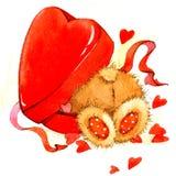 Valentine Day Background con el oso lindo del juguete y el corazón rojo Ilustración de la acuarela Fotos de archivo libres de regalías