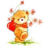 Valentine Day Background con l'orso sveglio del giocattolo ed il cuore rosso Illustrazione dell'acquerello royalty illustrazione gratis