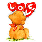 Valentine Day Background with cute toy bear and red heart. watercolor illustration Stock Photography