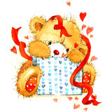 Valentine Day Background with cute toy bear and red heart. watercolor illustration Stock Images