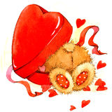 Valentine Day Background with cute toy bear and red heart. watercolor illustration Royalty Free Stock Photos