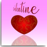 VALENTINE DAY BACKGROUND WITH BATIK ORNAMENT stock illustration