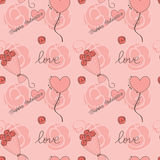 Valentine day background with flowers and hearts Stock Image