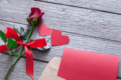 Valentine day background, handmade hearts and rose flower on wood Royalty Free Stock Photos