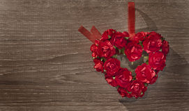 Valentine day background with heart and roses Stock Photo