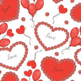 Valentine day background with hearts and balloons Stock Photo