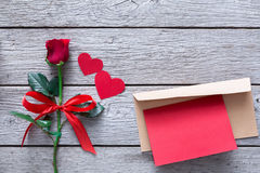Valentine day background, hearts, card and rose flower on wood Royalty Free Stock Photos