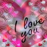 Valentine day background with inscription I love you in heart shape in tender pink hue. Computer generated image Stock Photography